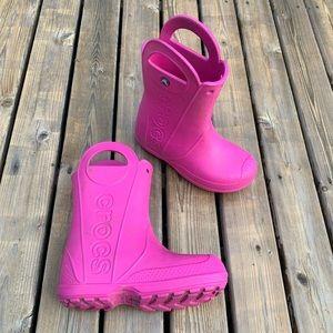 Crocs Girl's Pink Rain Boots, Size 2